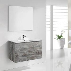Szafka do łazienki z umywalką i lustrem Happy, motyw vintage, 80 cm