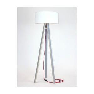 Szara lampa stojąca z białym abażurem i czerwonym kablem Ragaba Wanda