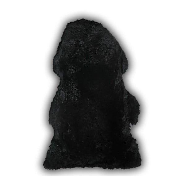 Dywan skórzany Mouton Black, 110x80 cm