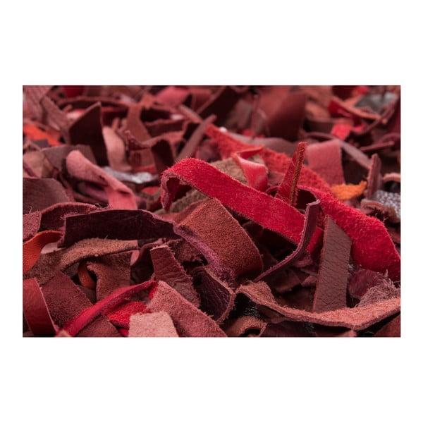 Czerwony skórzany dywan Rodeo, 120x170cm