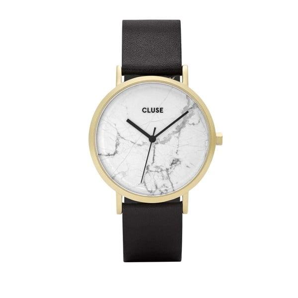 Zegarek damski z czarnym skórzanym paskiem i białym marmurowym cyferblatem Cluse La Roche Star