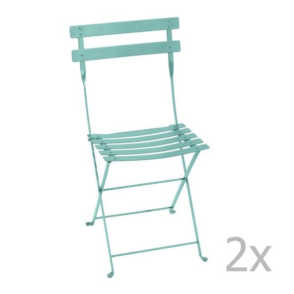 Zestaw 2 akwamarynowych krzeseł składanych Fermob Bistro