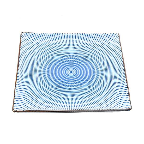 Kwadratowy talerz porcelanowy Blue Stripe, 23 cm