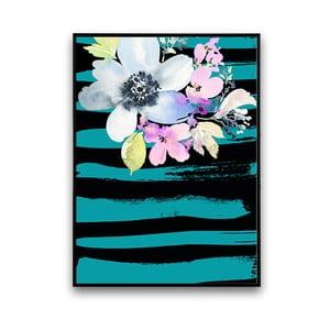 Plakat z kwiatami, turkusowo-czarne tło, 30 x 40 cm