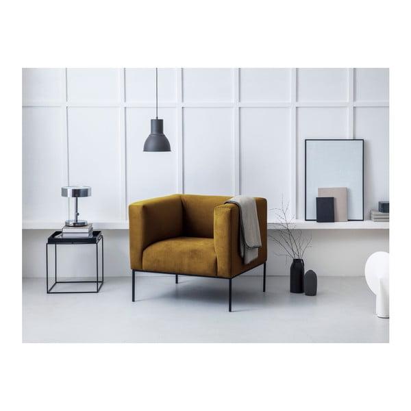 Żółty aksamitny fotel Windsor & Co Sofas Neptune