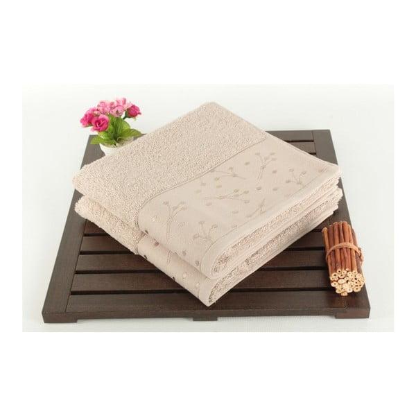 Zestaw 2 ręczników kąpielowych Sal Taupe, 50x90 cm