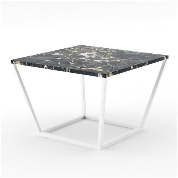Czarny stolik z marmuru z białą konstrukcją Absynth Noi Italy, mały