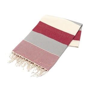 Ręcznik hammam American Stripes Red & Grey, 100x180 cm
