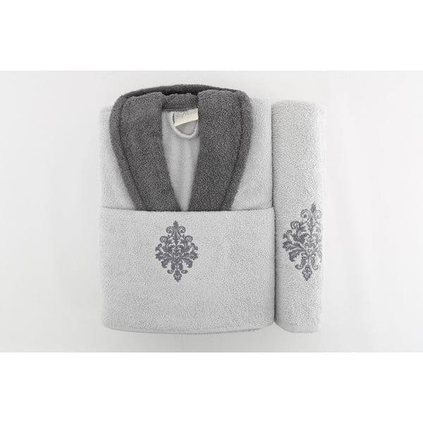 Zestaw szlafrok i 2 ręczniki Sobie Grey