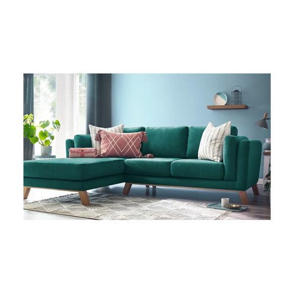 Turkusowa sofa z szezlongiem po lewej stronie Bobochic Paris Seattle