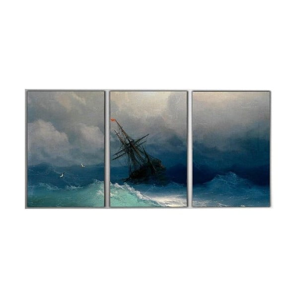 Trzyczęściowy obraz Storm, 45x90 cm