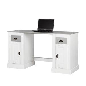 Białe biurko z drewna sosnowego z 2 drzwiczkami Støraa Tommy