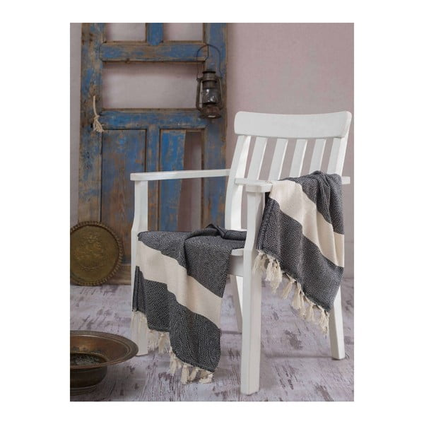 Kremowo-czarny ręcznik Hammam Elmas, 100x180 cm