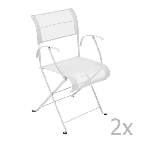 Zestaw 2 białych krzeseł składanych z podłokietnikami Fermob Dune