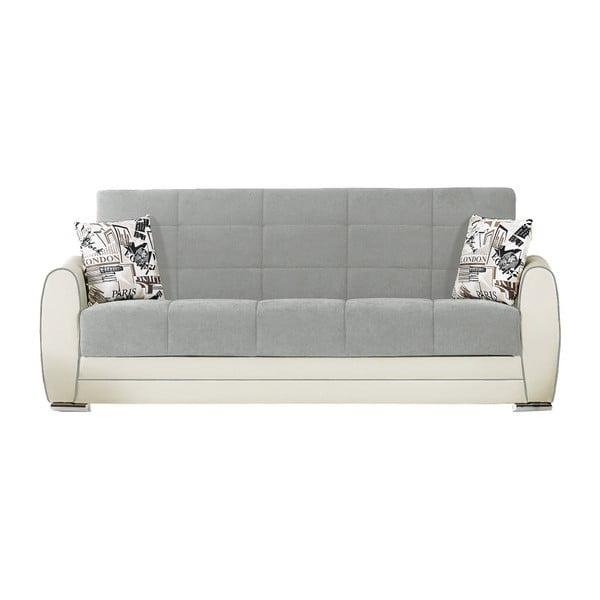 Szaro-kremowa trzyosobowa sofa rozkładana ze schowkiem Esidra Rest