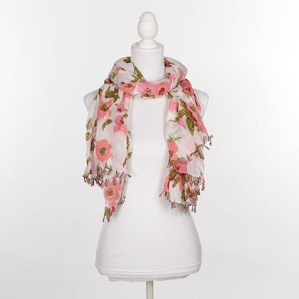 Chusta/pareo BLE Inart 100x180 cm, różowe kwiaty