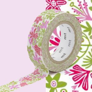 Różowo-zielona taśma dekoracyjna washi MT Masking Tape Beng and Lotta