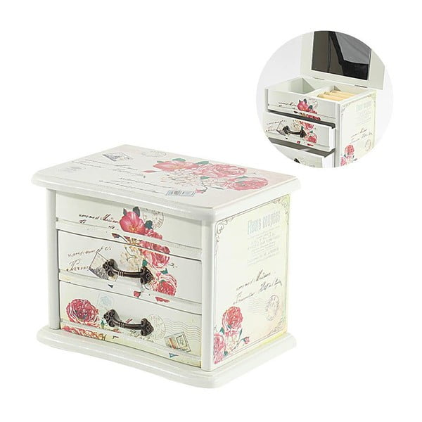 Drewniane pudełko na biżuterię Roses