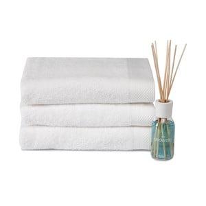 Zestaw 3 ręczników i dyfuzora Pure White