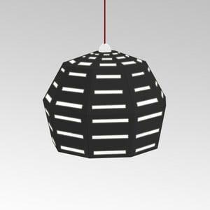 Kartonowa lampa Uno Fantasia D Black, z czerwonym kablem