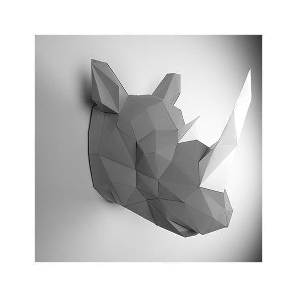 Papierowe poroże Nosorożec, szaro-białe