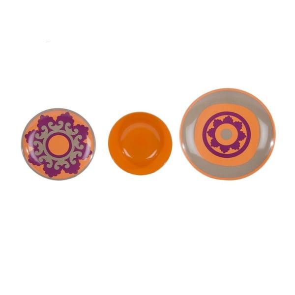 Komplet 18 talerzy ceramicznych Morgana Orange