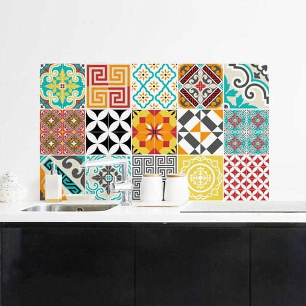 Zestaw 15 samoprzylepnych naklejek Ambiance Azulejos Tiles, 10x10 cm