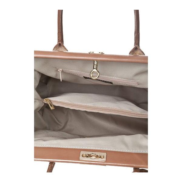 Beżowa torebka skórzana Markese Crocco Suede