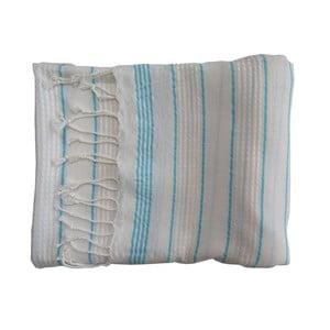 Turkusowo-biały ręcznie tkany ręcznik z bawełny premium Bodrum,100x180 cm
