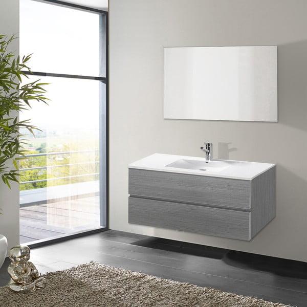 Szafka do łazienki z umywalką i lustrem Flopy, odcień szarości, 100 cm