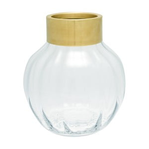 Szklany wazon z metalowym brzegiem Green Gate, wys. 19 cm