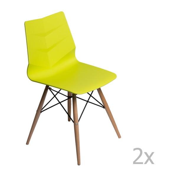 Zestaw 2 limonkowych krzeseł D2 Leaf DSW