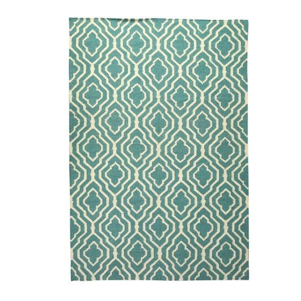 Dywan wełniany Geometry House Green & White, 160x230 cm