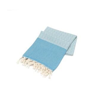Niebieski ręcznik Hammam Elmas, 100x180cm