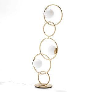 Lampa wolno stojąca z metalu w złotej barwie Thai Natura Circles, 45x126 cm