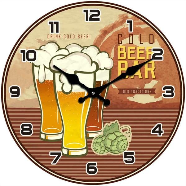 Szklany zegar Cold Beer Bar, 34 cm