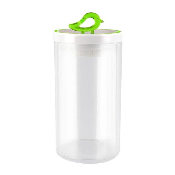 Przezroczysty pojemnik z zielonym detalem Vialli Design Livio, 1,2 l