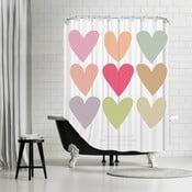 Zasłona prysznicowa Love Thee Hearts White, 180x180 cm
