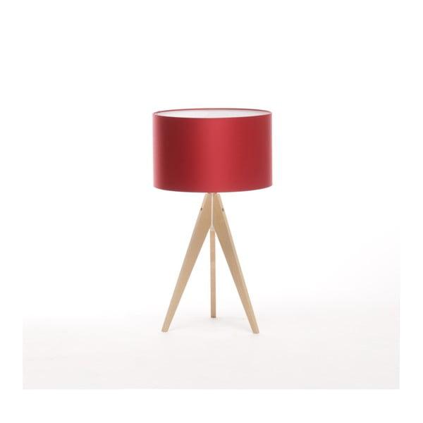 Czerwona lampa stołowa Artist, brzoza, Ø 33 cm