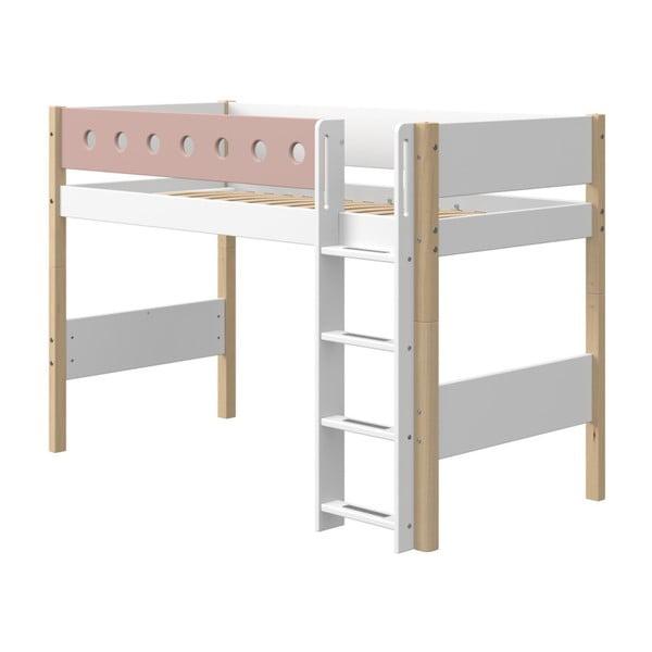 Różowo-białe dziecięce łóżko z nogami z drewna brzozowego Flexa White, wys. 143 cm