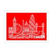 Plakat London Red&White, 50x70 cm