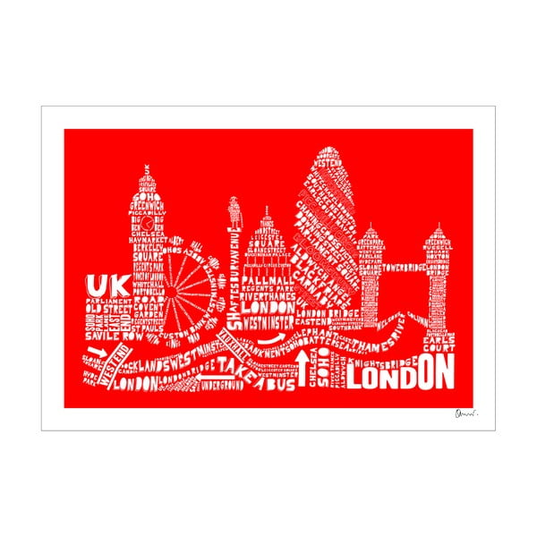 Plakat London Red&White, 50x70 cm