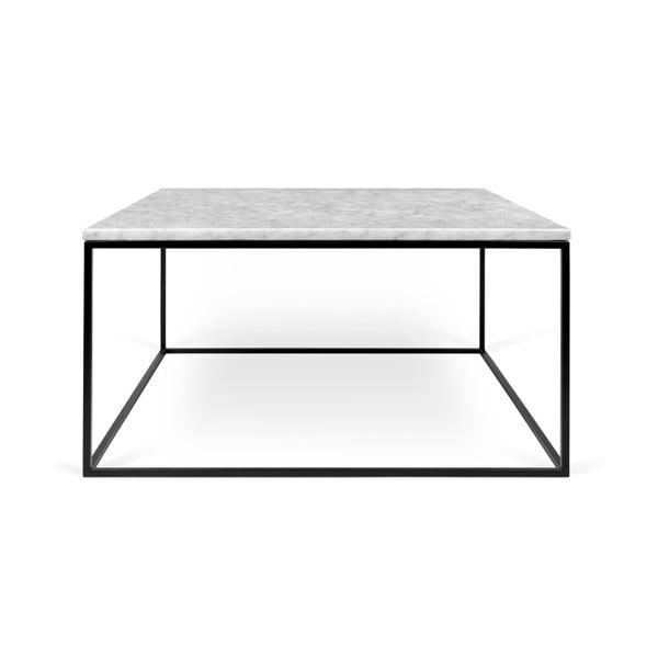 Biały stolik marmurowy z czarnymi nogami TemaHome Gleam, 75 cm