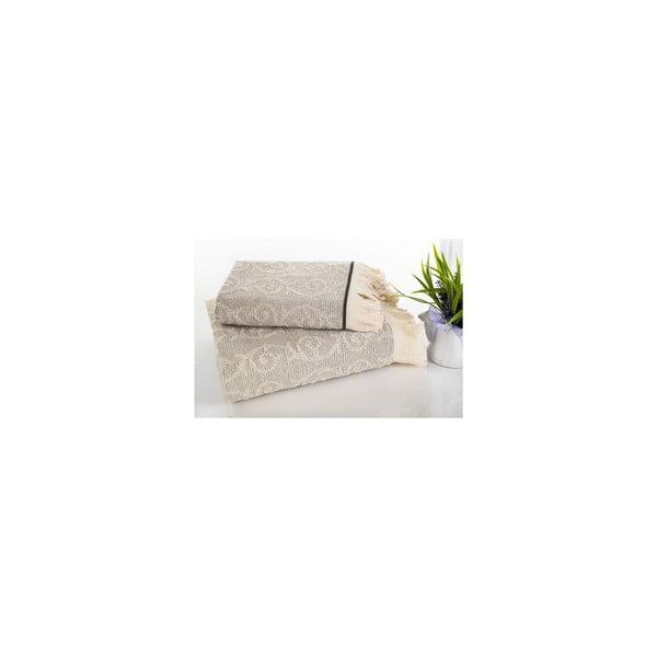 Komplet ręczników hamam Topak Cream, 50x90 oraz 70x150 cm