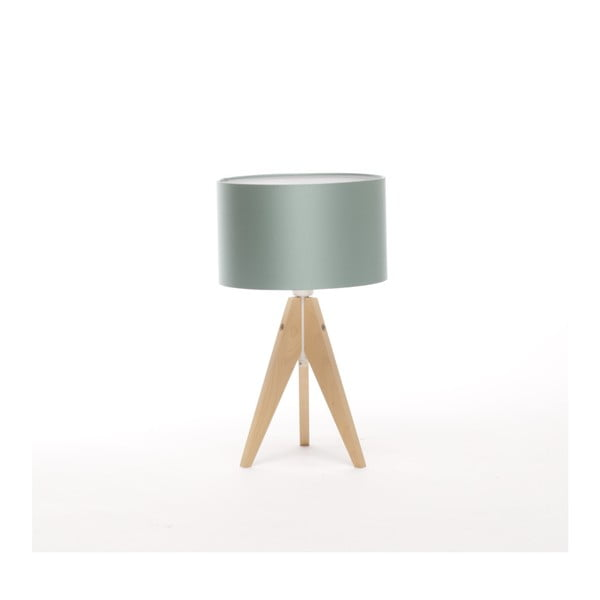 Stalowo-niebieska lampa stołowa na nóżkach z brzozy Artist, Ø 25 cm