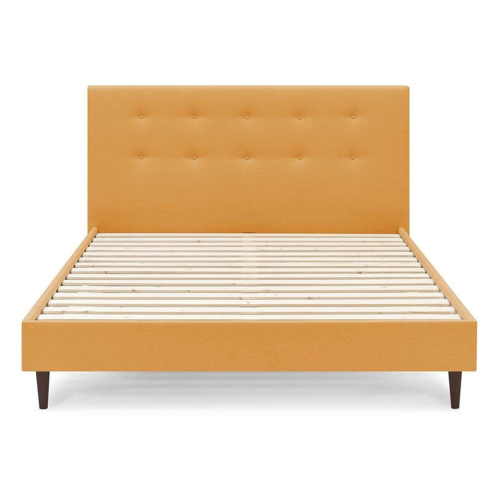 Żółte łóżko dwuosobowe Bobochic Paris Rory Dark, 160x200 cm
