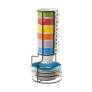 Komplet 6 filiżanek ze spodkami na stojaku Unimasa