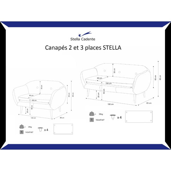 Sofa dwuosobowa Stella Grey