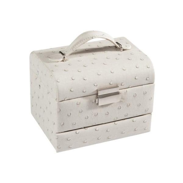 Kremowa szkatułka na biżuterię J-Line, 16x13x12,5 cm