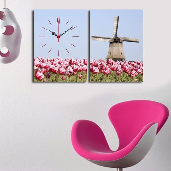 Obraz z zegarem Młyn i Tulipany